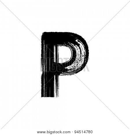 Vector hand paint letter P. Hand drawn letter with dry brush.