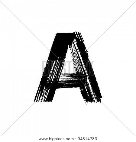 Vector hand paint letter A. Hand drawn letter with dry brush.