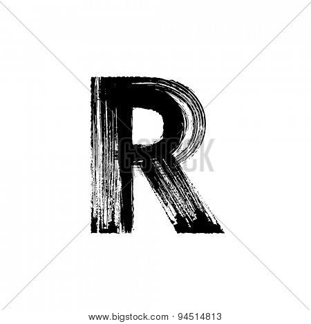 Vector hand paint letter R. Hand drawn letter with dry brush.