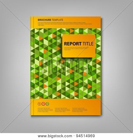 Brochures Book Or Flyer With Green Triangles Template