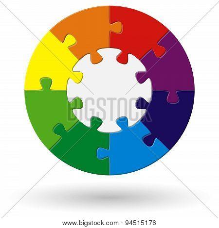 Round Puzzle Color Wheel