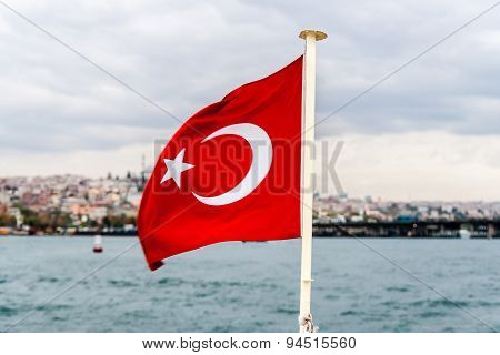 Flag Of Turkey On Bosphorus Background