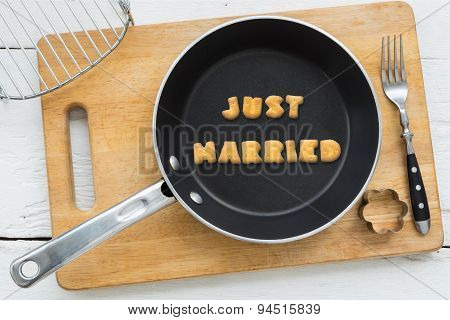 Letter Cookies Word Just Married And Kitchen Utensils