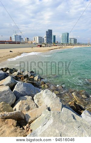 Popular Sandy, Mediterranean beach in Barcelona, Spain