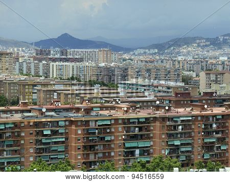 Houses and apartments in Suburban sprawl of the City of coastal Barcelona, Spain