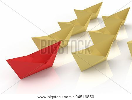 Leadership Concept. Red And Yellow Paper Boats