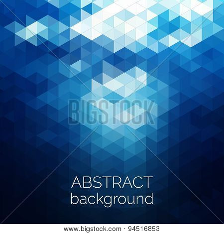 Abstract Triangles Pattern Background. Blue Water Geometric Background.