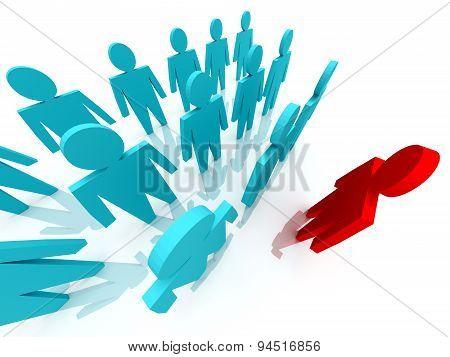 3D Illustration Of Leader Leads The Team
