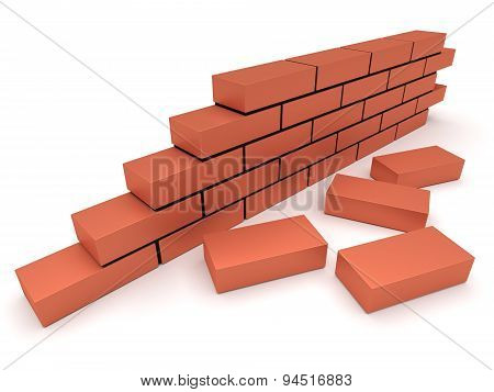Brick Wall. Concept Of Building And Construction