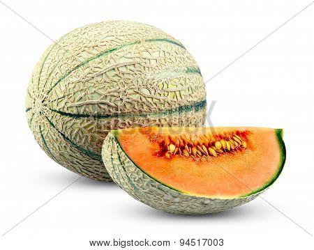 Ripe Melon Cantaloupe Slice, Isolated On White Background.