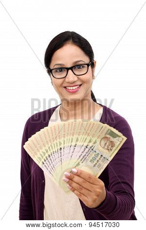 Excited Successful Young Woman Holding Indian Rupee Bills