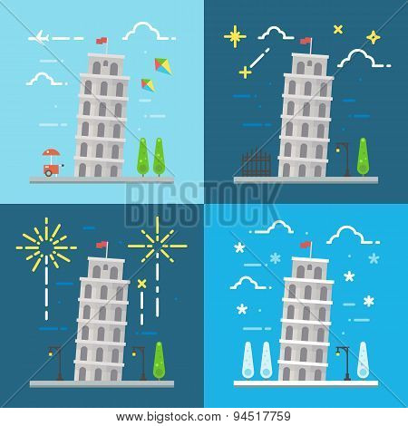 Flat Design Of 4 Styles Leaning Tower Of Pisa Italy