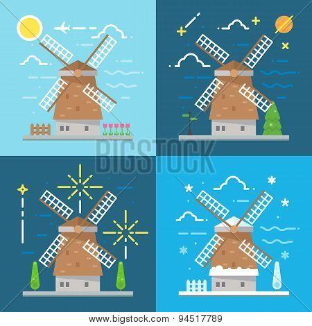 Flat Design 4 Styles Of Windmill Amsterdam Netherland