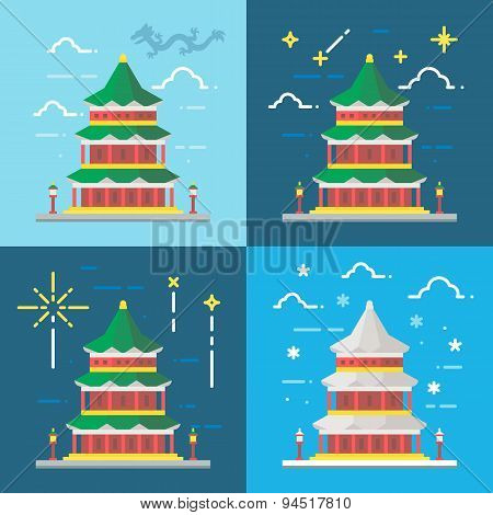 Flat Design 4 Styles Of Summer Palace Beijing China