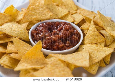 Portion Of Nachos (with Salsa Dip)