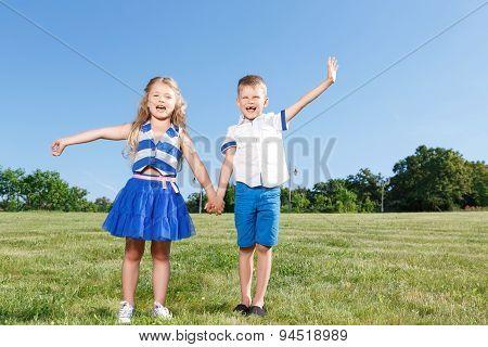 Laughing little children having fun