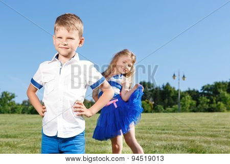 Upbeat children posing together