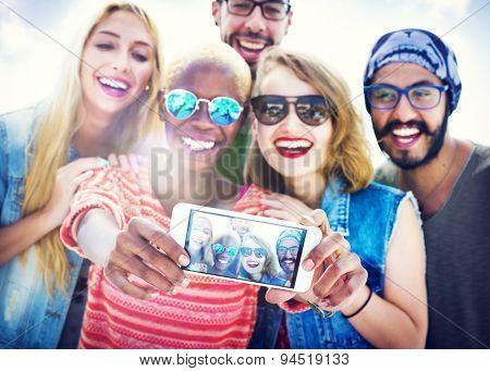 Friends Beach Vacation Summer Selfie Concept