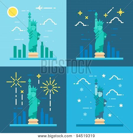 Flat Design 4 Styles Of Statue Of Liberty