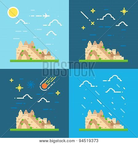 Flat Design 4 Styles Of Machu Picchu Peru