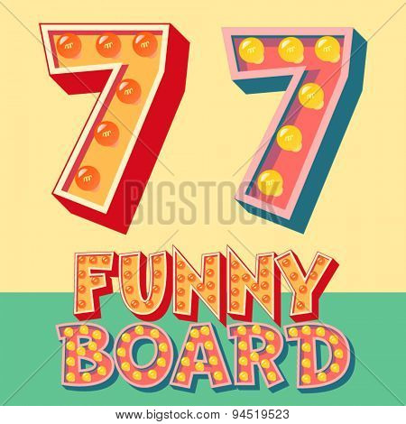 Bright funny comic vector lamp alphabet. Number 7