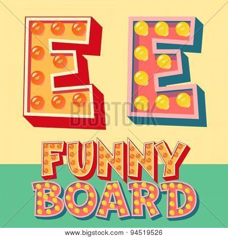 Bright funny comic vector lamp alphabet. Letter E