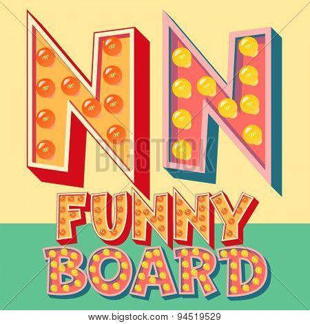 Bright funny comic vector lamp alphabet. Letter N