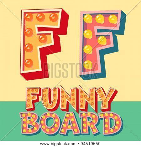Bright funny comic vector lamp alphabet. Letter F