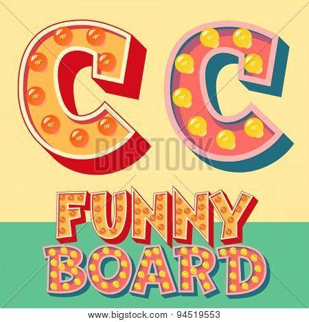 Bright funny comic vector lamp alphabet. Letter C