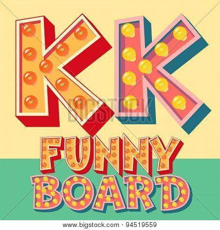Bright funny comic vector lamp alphabet. Letter K