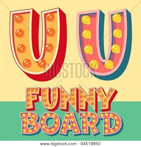 Bright funny comic vector lamp alphabet. Letter U