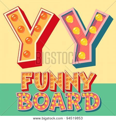 Bright funny comic vector lamp alphabet. Letter Y