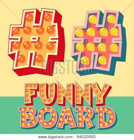 Bright funny comic vector lamp alphabet. Symbol 6