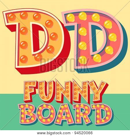 Bright funny comic vector lamp alphabet. Letter D