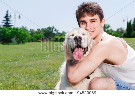 Having fun with a dog