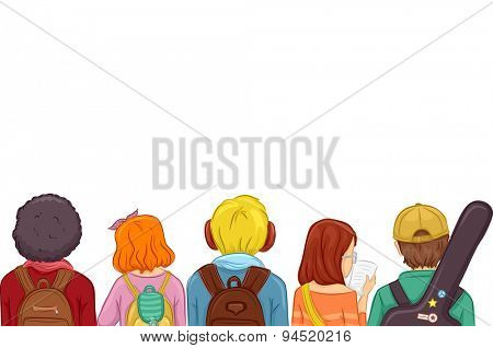 Rear View Illustration of Kids Wearing Backpacks