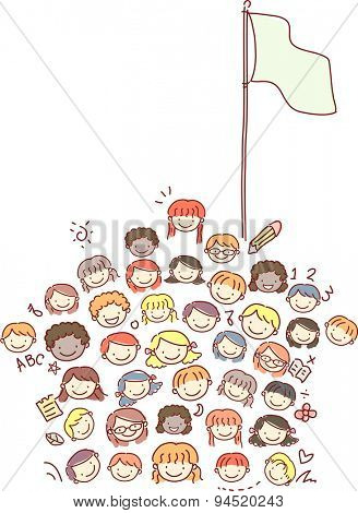 Doodle Illustration of Kids Standing Beside a Flagpole