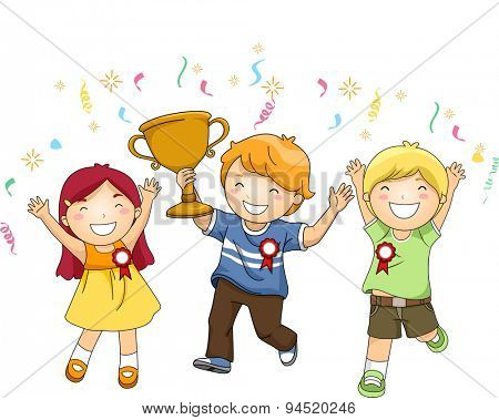 Illustration of a Group of Kids Celebrating Their Victory