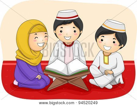 Illustration of Little Muslim Kids Reading the Quran