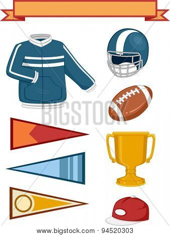 Illustration of Elements Typically Associated with College Sports