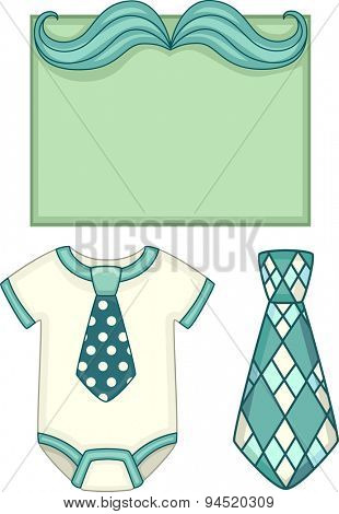 Board Illustration of a Baby Onesie with a Matching Necktie Beside It