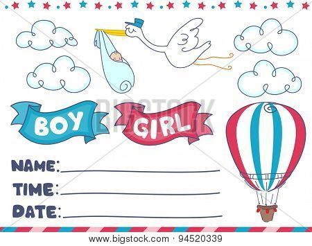 Illustration of an Invitation for a Gender Reveal Event