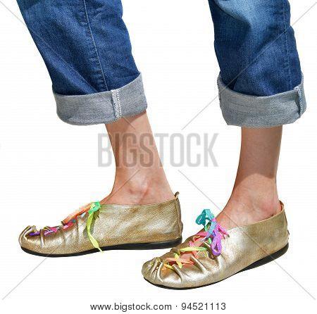 Ladies Fun Gold Shoes