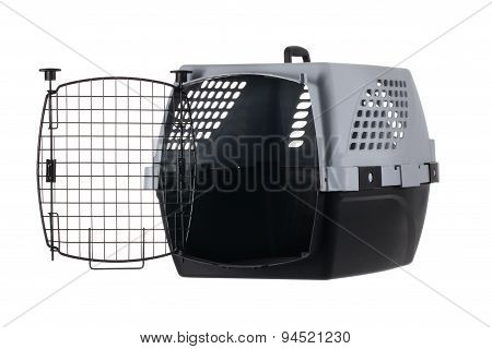 Empty Pet Carrier With Open Door Isolated On White Background