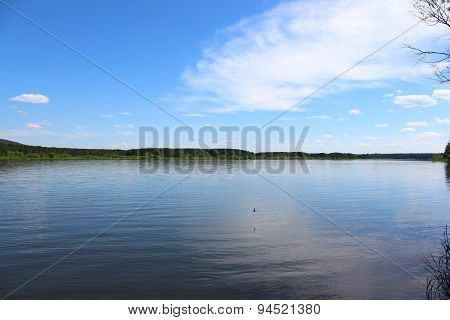 Landscape of the River Kan and expanses of taiga