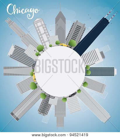 Chicago city skyline with grey skyscrapers,  blue sky and copy space. Vector illustration