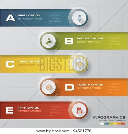 Abstract 5 steps template.Vector illustration.