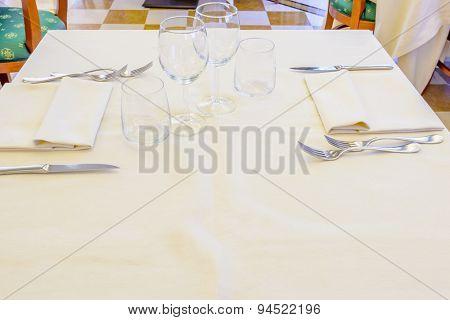 Classic dining room in luxury restaurant, hotel.
