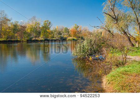 Small Ukrainian river Oril at fall season