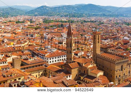 City rooftops and Bargello in Florence, Italy